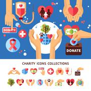 Charity Infographic Set - stock illustration