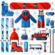 Stock Illustration of Flat Color Isolated Skiing Icons