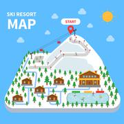 Ski resort map Stock Illustration