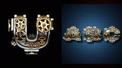 mechanical alphabet with rotate gears. Alpha Matted - stock footage