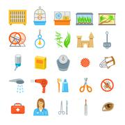 Pets grooming and healthcare accessories flat vector icons - stock illustration