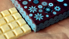 Natural sweet handmade chocolates in brown box Stock Footage