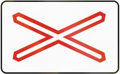 Road sign used in Slovakia - Warning cross for single track level crossing Stock Illustration