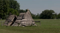 OLD SHEPHERD REED HUTS, HUNGARIAN PUSZTA. Stock Footage