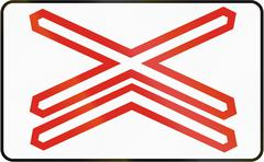 Stock Illustration of Road sign used in Slovakia - Warning cross for single track level crossing