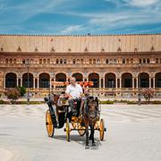 Horse drawn carriage in Plaza de Espana in Seville, Andalusia - stock photo