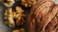 Walnut Kernels on Cloth Background. Beautiful Nuts Background Stock Footage