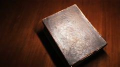 Old Bible on Table Stock Footage