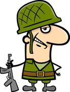 soldier cartoon illustration - stock illustration