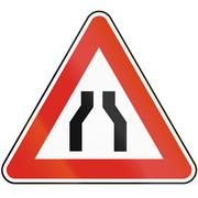 Road sign used in Slovakia - Road narrows from both sides Stock Illustration