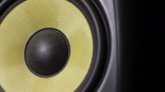 Closeup at  moving sub-woofer. Speaker part Stock Footage