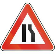 Road sign used in Slovakia - Road narrows from right - stock illustration