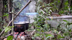 Cooking on a Campfire Stock Footage
