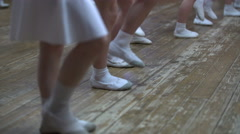 Ballet. View of little girls learn dance moves - stock footage