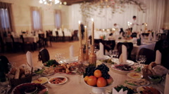 Beautiful wedding table in the restaurant Stock Footage
