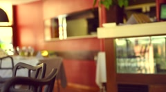 Served dinner table in a restaurant. Restaurant interior. Stock Footage