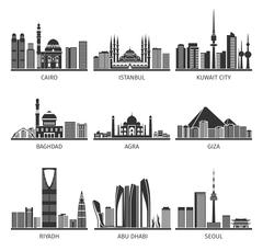 Eastern Cityscapes Landmarks Black Icons Collection - stock illustration