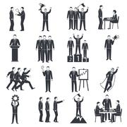 Leadership Black White Icons Set - stock illustration