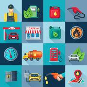 Gas Station Square Icons Set Stock Illustration