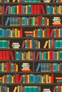 Book Shelves  Dtcorative Colorful Icon Poster - stock illustration