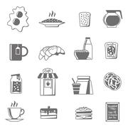 Stock Illustration of Breakfast Black White Icons Set
