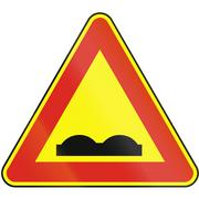Road sign used in Slovakia - Uneven road (as a temporary sign) - stock illustration
