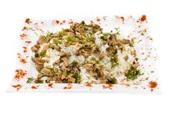Rice with mushrooms - stock photo