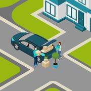 Stock Illustration of People moving From House Isometric Banner
