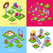 Playground 2x2 Images Set Stock Illustration