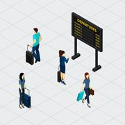 Stock Illustration of Airport Hall Passengers Isometric Banner