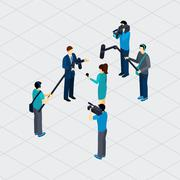Journalist Profession Teamwork Isometric Banner - stock illustration