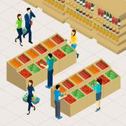 Family Shopping Illustration - stock illustration