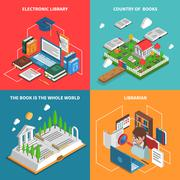 World Of Books Icons Set - stock illustration