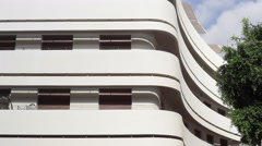 White Bauhaus building in Tel-Aviv, Dizengoff square, Israel Stock Footage