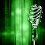 abstract grunge background with retro microphone - stock illustration