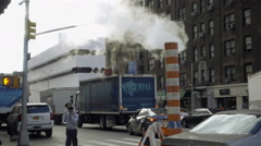 Smoke stack steam pipe on 7th ave outside hospital in Manhattan NYC 1080 HD Stock Footage