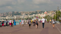 People are on the Promenade des Anglais in Nice timelapse - stock footage