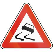 Road sign used in Slovakia - Risk of skidding Stock Illustration