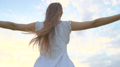 Beauty Girl with Healthy Long Hair Outdoors. Stock Footage