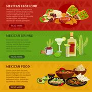 Stock Illustration of Mexican Food 3 Horizontal Banners Set