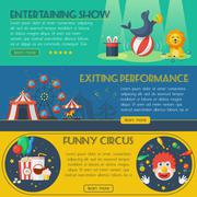 Circus banner set - stock illustration