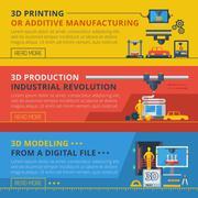 3D Printing Flat Horizontal Banners Set Stock Illustration