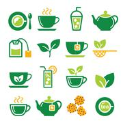 Green tea and ice tea vector icons set - stock illustration