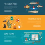 Fishing Banners Set - stock illustration