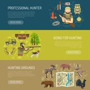 Hunting Horizontal Banners Collection - stock illustration