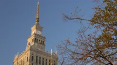 Camera tilts down the Palace of Culture and Science Stock Footage