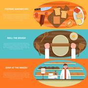 Bakery banner set - stock illustration