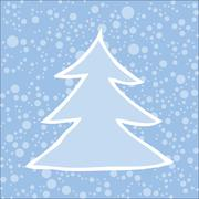 Silhouette of Christmas tree with falling snow. Stock Illustration