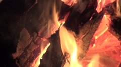 Bonfire burning in the deep snow in evening Stock Footage
