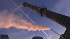 Central heating chimneys with smoke Stock Footage